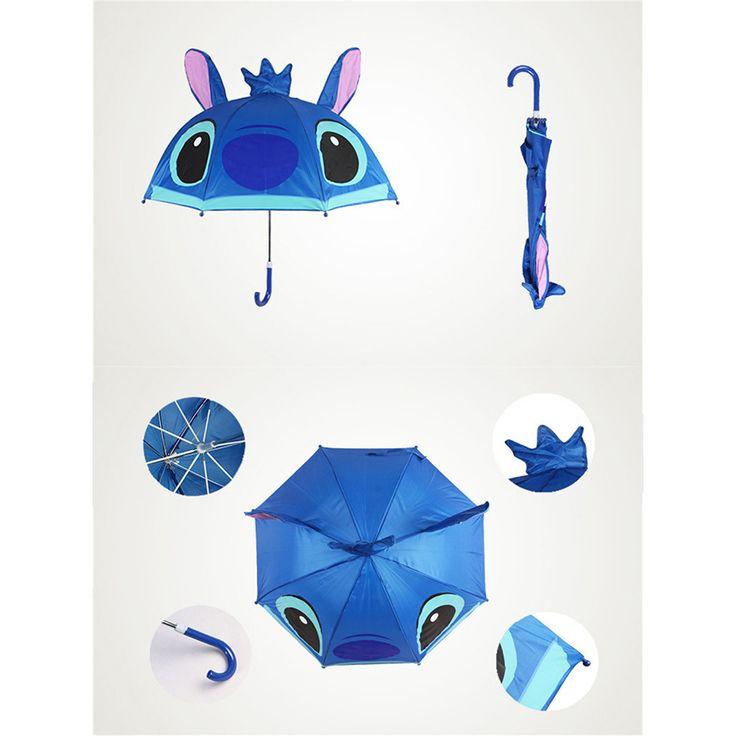Cute Cartoon Animal Umbrella for Kids Animal Ears Bend Handle Stitch