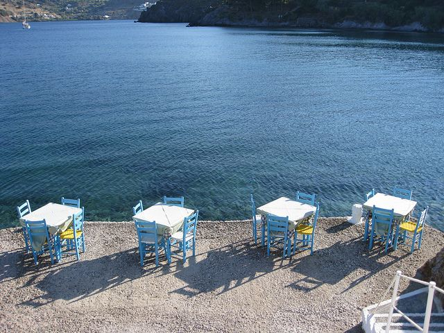 Tables by the sea in Patmos