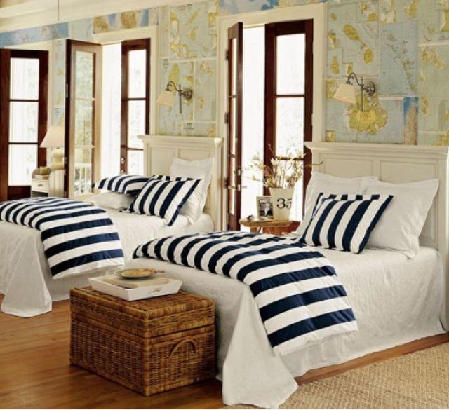 38 best Nautical bedroom images on Pinterest Beach, Nautical - nautical bedroom ideas