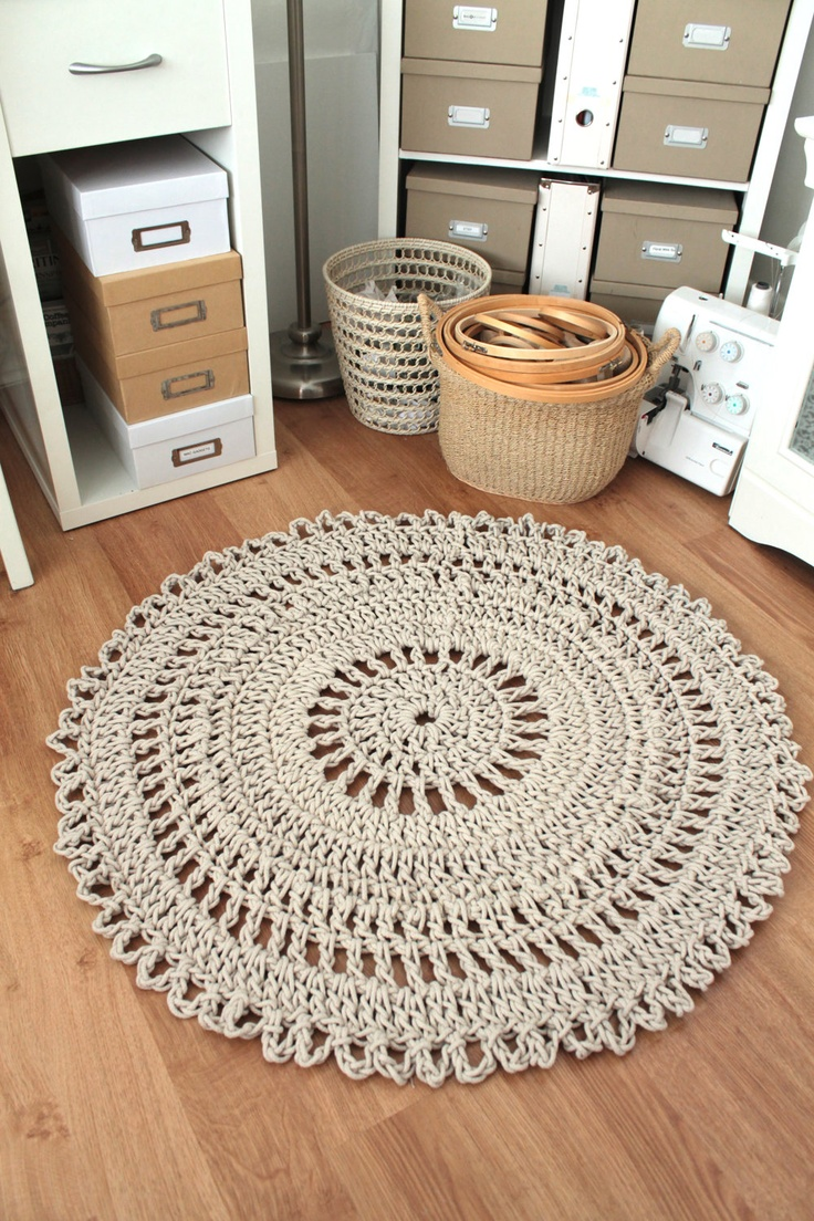 Making a rug out of carpet - Carpet Rug Crochet Handmade Neutral Shabby Chic Cotton Rope