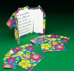 Tropical Shirt Invitations . Invite all your friends with these cardboard invitations! Perfect for a luau or beach party, these invitations feature pretty Hawaiian flowers and inspire lazy days on the beach. Includes envelopes. 8cm x 10cm Pack of 6