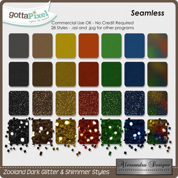 Zooland Dark Glitter & Shimmer Styles created by Alessandra Designs.