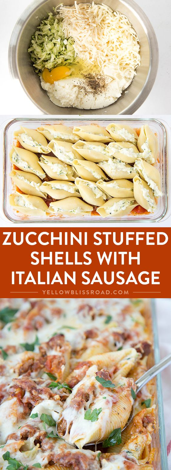 Zucchini Stuffed Shells with Sausage - Tender pasta shells filled with Ricotta and mozzarella cheese and shredded zucchini. Smothered in a rich sausage marinara. Such an elegant weeknight dinner!