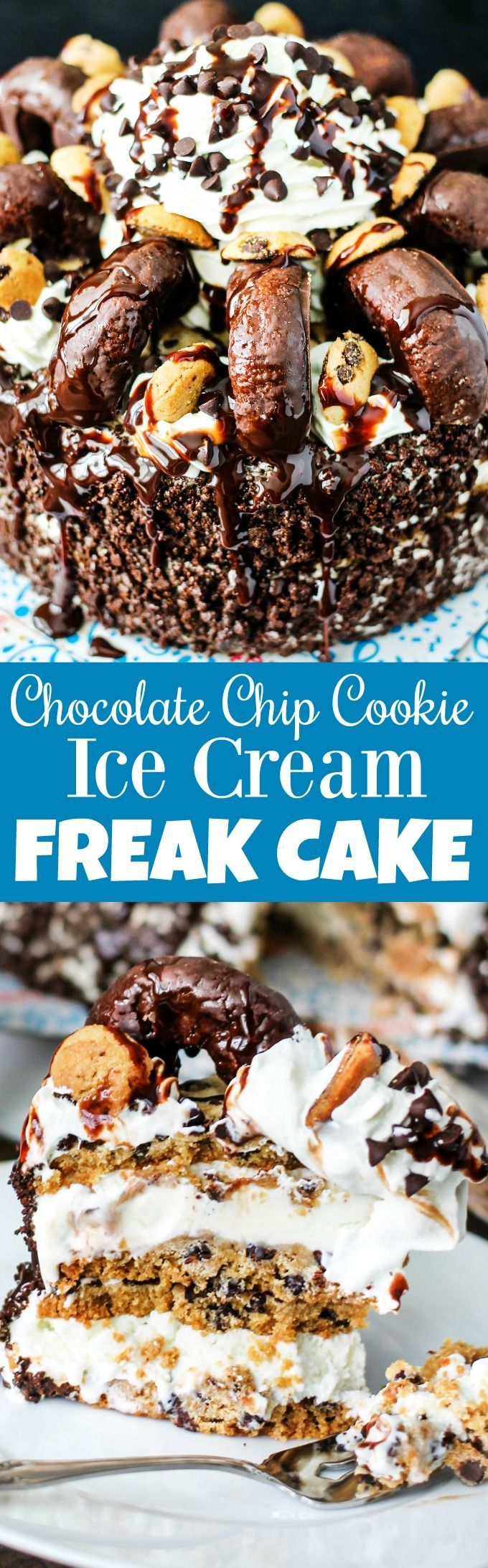 Chocolate Chip Cookie Ice Cream FREAK Cake is the ULTIMATE DESSERT! All of the above plus mini cookies, donuts, chocolate syrup, and whipped cream! #SummerCakeBreak #ad