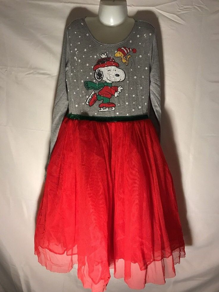 PEANUTS Girls Snoopy Holiday Tutu Dress Sequin Glitter L 10/12 Red Christmas EUC #Peanuts #TutuDress #Christmas