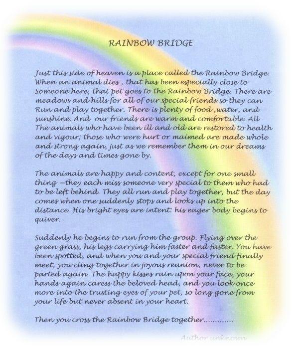 Rainbow Bridge Poem Print Version | The Rainbow Bridge ... Rainbow Bridge