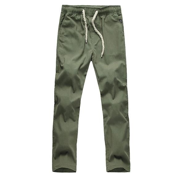 NIBESSER Brand Armygreen Pants Men Line Pants Loose Comfotable Streetwear Plus Size 5XL Elastic Waist Casual Pants Trousers
