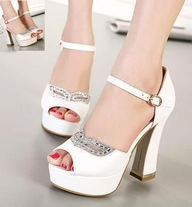 Wholesale cheap wedding shoes online, rhinestone - Find best rhinestone fox mask bridal heels white heel ivory shoes comfortable thick heel platform wedding shoes 12CM size 35 to 39 at discount prices from Chinese wedding shoes supplier on DHgate.com.