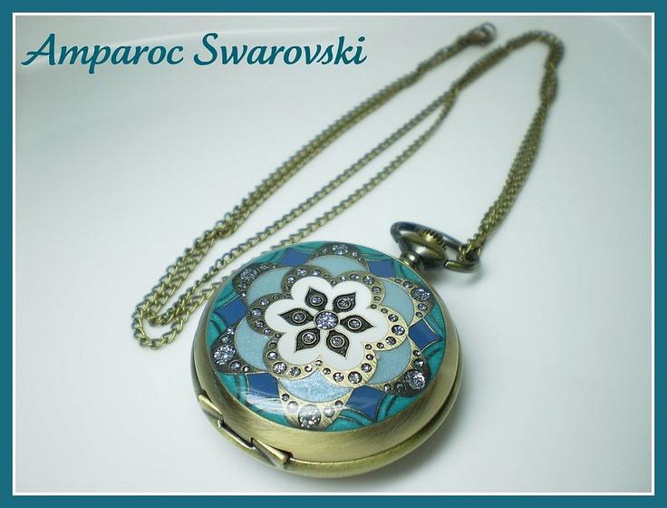 Collar Reloj Casablanca Verde-azulado