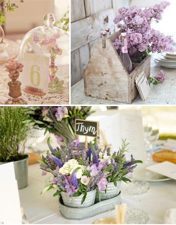 Decoracion para boda provenzal. Cajas de madera y cubos de zinc