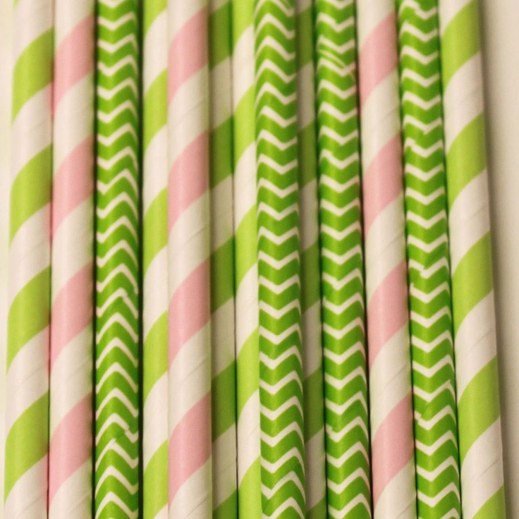 Paper Straws, Pink Watermelon MIx, Chevrons and Striped Paper Straws with Diy flags, Girl Parties, Baby Showers, Bridal Luncheon,. $5.00, via Etsy.