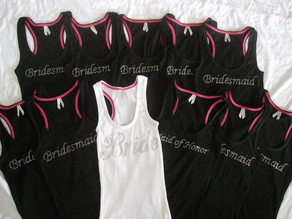 11 Bride Bridesmaid Tank Top Shirts Matron by TheLittleBridalShop, $187.45