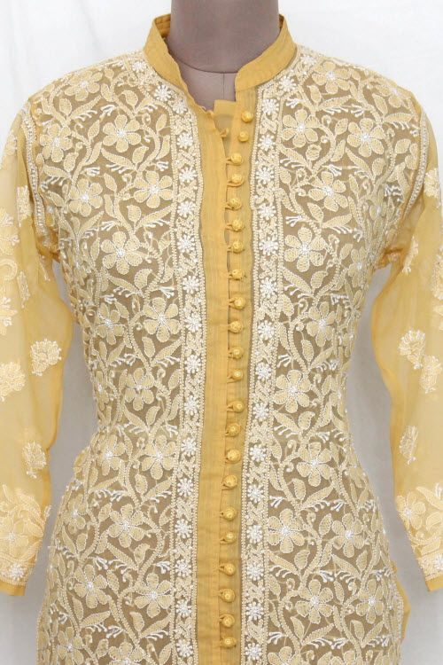 Yellow Hand Embroidered Lucknowi Chikankari Long Kurti (Georgette) Bust-44 inch 13730