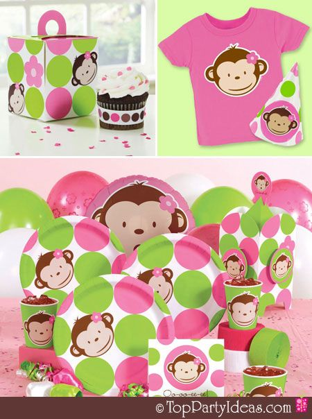 "first birthday monkey theme for girls cakes | Pink ""Mod"" Monkey Party - Part 1"