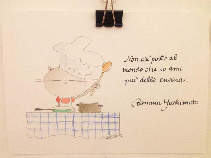#Cat #Cook #Kitchen #BananaYoshimoto #PIKI #Illustration #watercolors #pencil #ink
