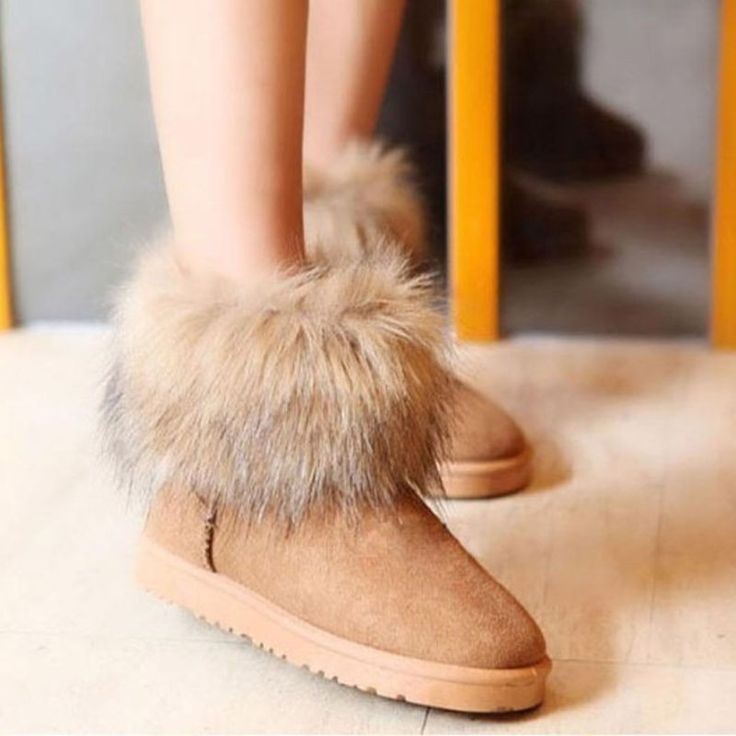 snow boots brown fur via american fashion store. Click on the image to see more!
