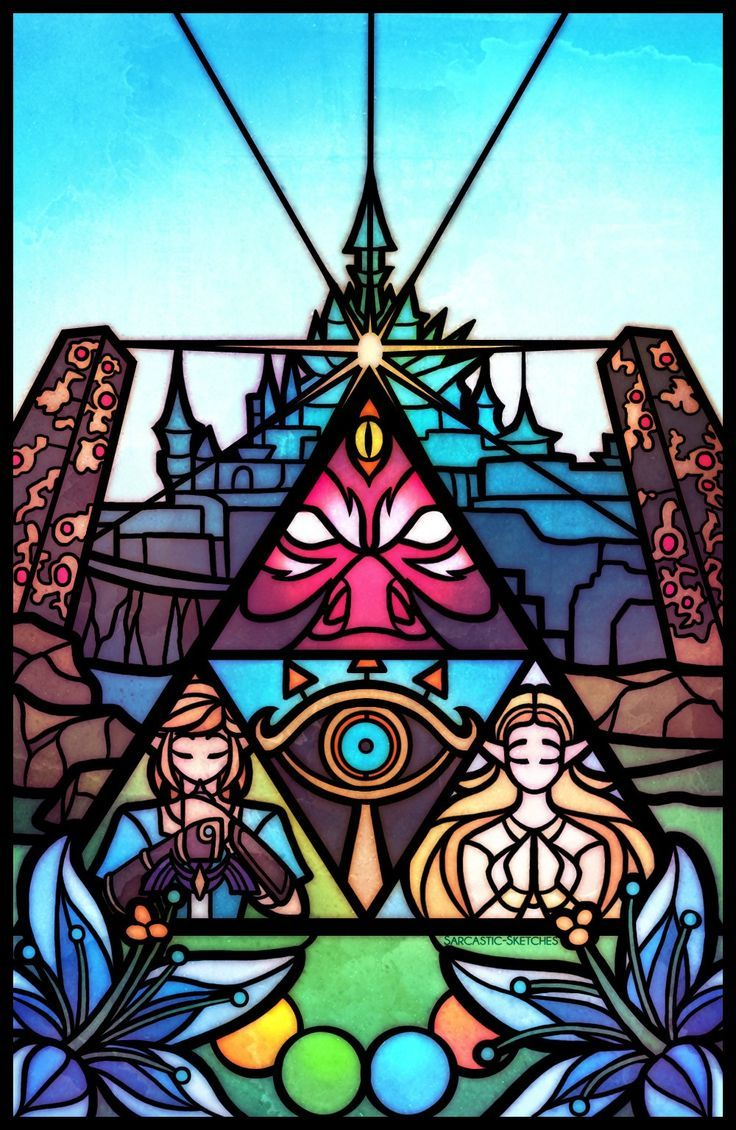 Die Legende von Zelda BoTW im Stil der Glasmalerei – Triforce, Hyrule Castle, Calamity … – videospiele