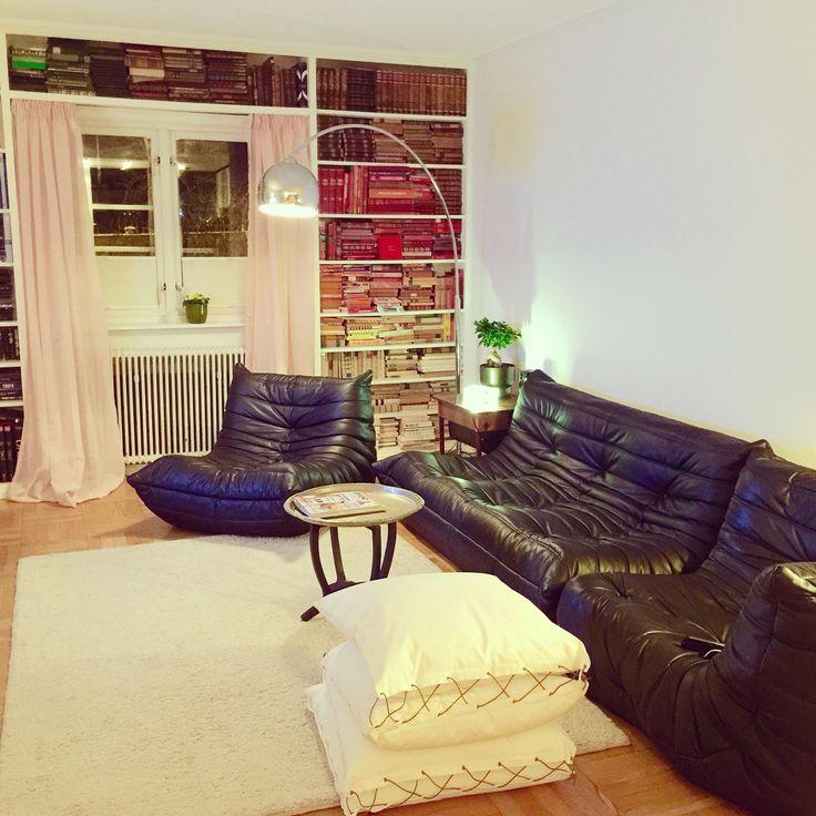 Togo sofa by Ligne Roset. Cushion by Karmameju, Copenhagen. Lamp by Stockholm Design House.