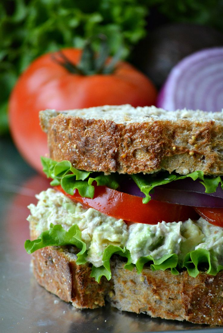 Heart Healthy Tuna Avocado Salad Sandwich on MyRecipeMagic.com