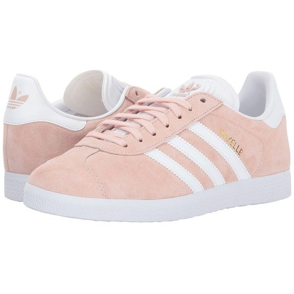 adidas Originals Gazelle (Vapour Pink/White/Gold) Women's Tennis Shoes (£61) ❤ liked on Polyvore featuring shoes, white lace up shoes, laced up shoes, tenny shoes, grip shoes and gold tennis shoes