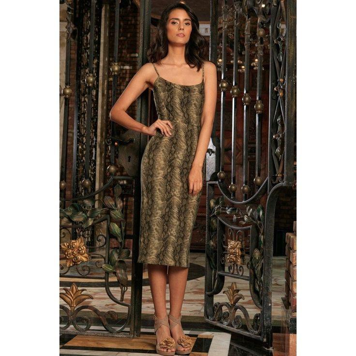 Sage Green Animal Print Sleeveless Bodycon Evening Midi Dress - Women