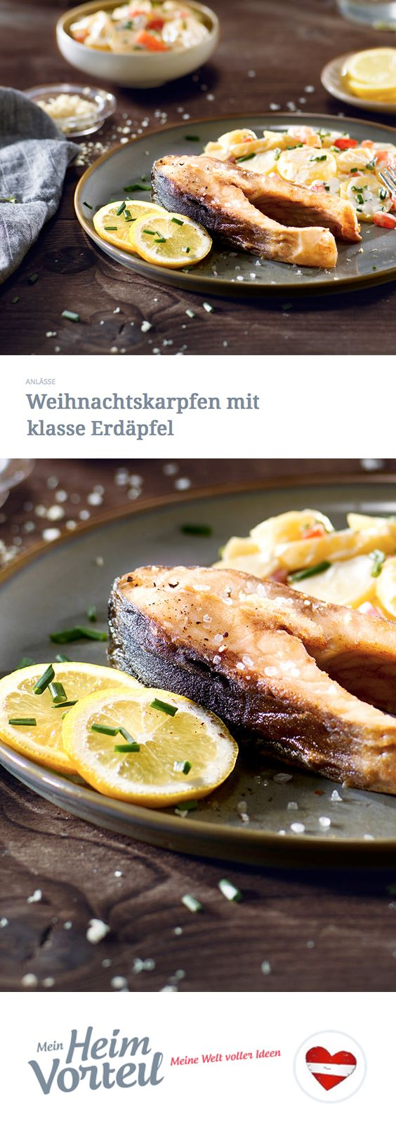 Karpfen ist selten geworden in unseren Küchen – vollkommen zu Unrecht, wie wir finden. Du auch? Dann haben wir hier ein tolles, einfaches Rezept dieses klassischen Weihnachtsfisches für dich und drei weitere Freunde. #christmas #weihnachten #hauptspeise #food #rezept #recipe #fisch #fish #karpfen #kartoffelsalat #zitrone #citrus