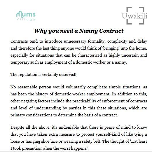 Printable nanny contract