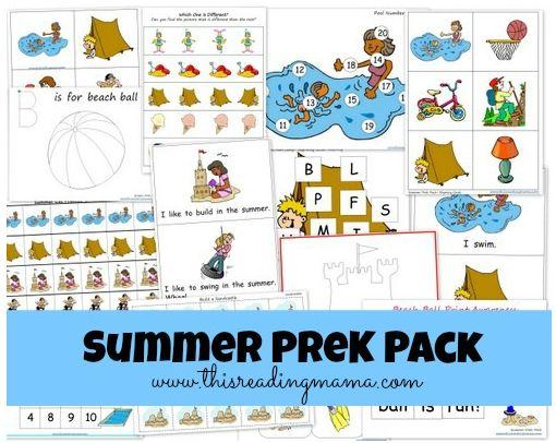 Free Summer PreK printable pack Preschool learning
