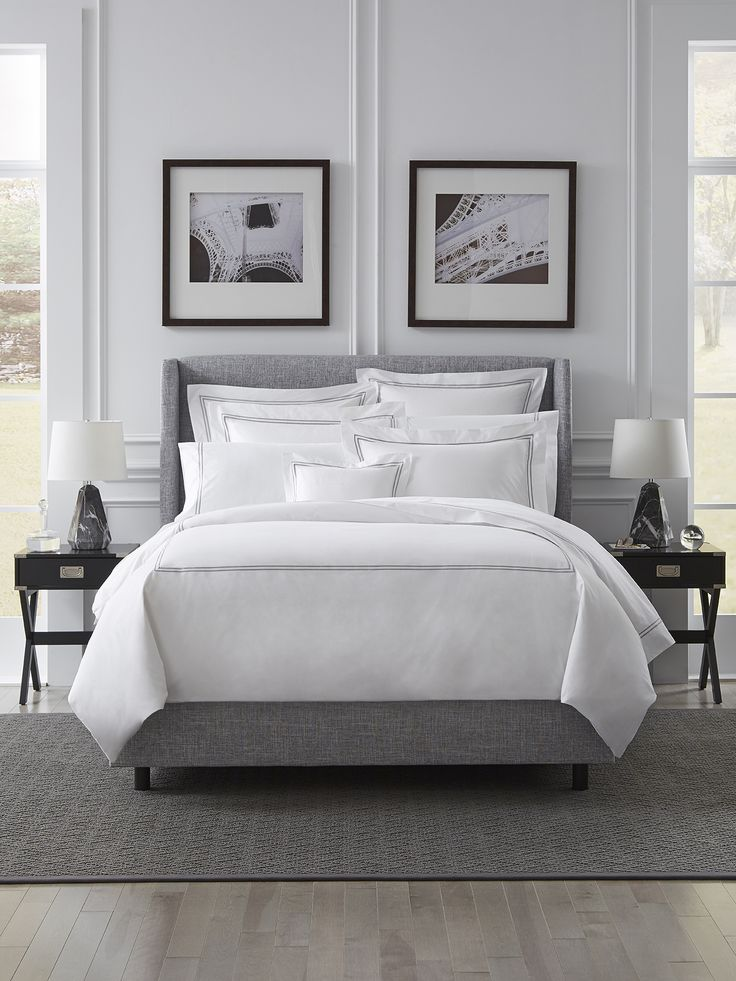 These crisp and tailored linens grace the beds of some of the finest five-star hotels in the world. Our best selling percale sheet set is embroidered with double rows of satin stitch woven by our masters in Italy.