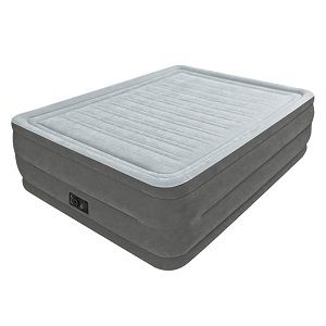 Intex Comfort Plush Elevated Dura-Beam Air Bed, Queen Size with a bed height of 22 inches.  Covered in plush flocking that is soft to the touch and the horizontal air chambers provide added stability and support around the entire bed.  Great for extra guests and even yourself.