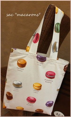 """a tote bag with """"macaron"""" fabric"""