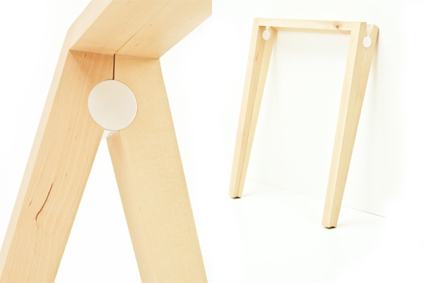 AAVA trestle for any table top, birch + metal hinges / Season One