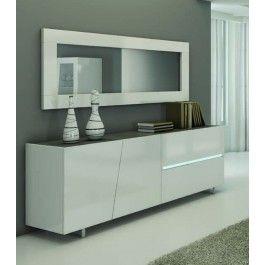 Madia moderna laccata lucida con top marmo grigio - Art 1645 #madia #design #credenza #contromobile