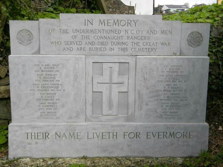 Connaught Rangers, Great War Memorial, Kinsale Old Abbey Cemetery, Co. Cork.