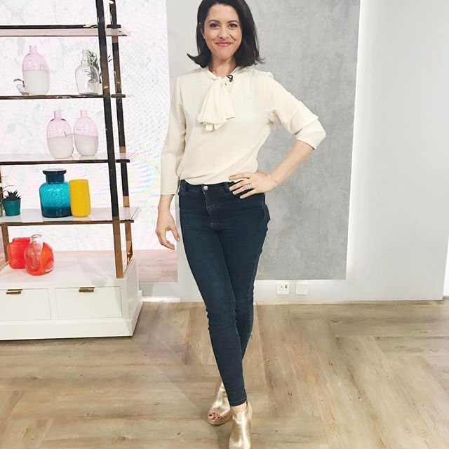 Today's outfit on @qvcuk Marla Wynne blouse, Label Lab jeans and Marc Fisher gold wedges.  All from QVC UK #fashion #style  #fblogger #fbloggers #styleinspo #styleblogger #styleguide #qvc #qvcstyle #picoftheday #gramoftheday #fashiondiaries #fashionaddict #styleaddict  #presenter #studio #fashionblogger #fashionforward #fashionjunkie #styleinspo #qvcuk #ootd #outfitoftheday #blouse #jeans #perfectjeans #wedges #shoes #shoeaddict