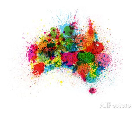 Australia Paint Splashes Map Premium Giclee Print by Michael Tompsett - at AllPosters.com.au