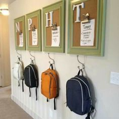 Kid's Chore Boards w/backpack hooks! Entry way organization for multiple kids!