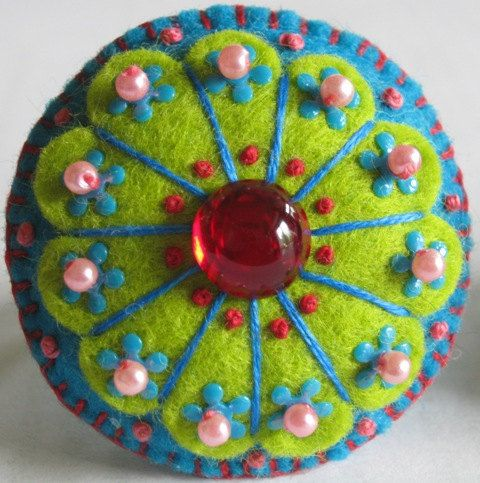 Felt Flower Ring for the Bold by addiepearl on Etsy