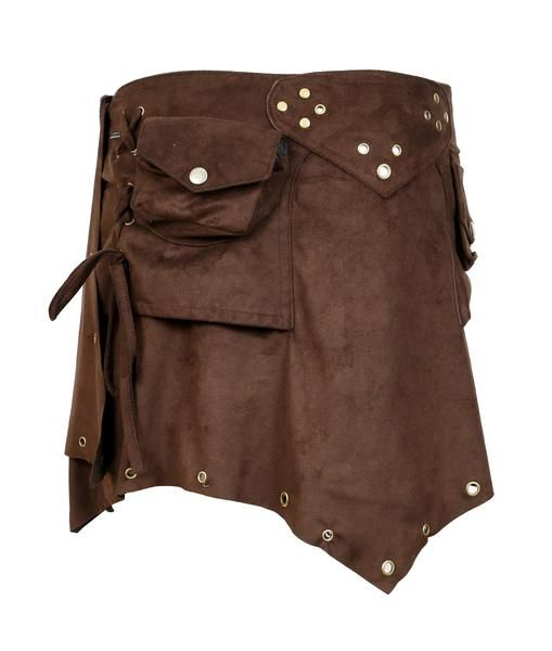 Ladies Suede Mini Skirt. Wrap around Style with Button Closure Design.