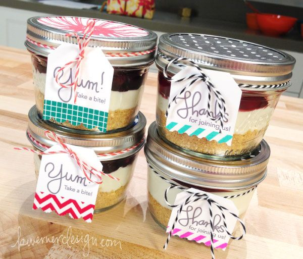 Washi Tape Tags for No Bake Cheesecakes in Jars (with recipe and free tag printable)