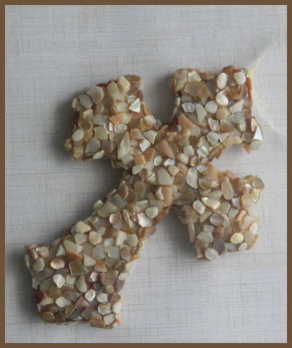 Beautiful Crushed Shell Cross Wall Art by PBTurtleDesigns on Etsy, $28.00
