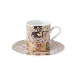 """Goebel - Artis Orbis - Gustav Klimt - Expectation - Espresso cup (demitasse) - Porcelain demitasse with saucer showing """"Expectation"""" by Gustav Klimt. Dishwasher safe but recommended to wash by hand with a mild cleanser to preserve the brilliant colours and gold decor. Height: 6.0 cm. Diameter: 12 cm. Content: 0.09 l."""
