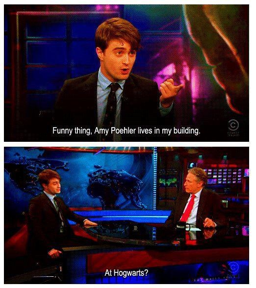 Daniel Radcliffe on The Daily Show with Jon Stewart. Two of my favorite guys! #HarryPotter #Harry_Potter #Hogwarts
