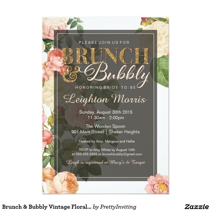 pink black and white bridal shower invitations%0A Brunch  u     Bubbly Vintage Floral Bridal Shower