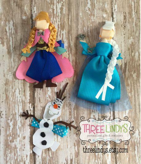 Frozen Hair Clip Set Ribbon Sculpture Princess Hair por ThreeLindys