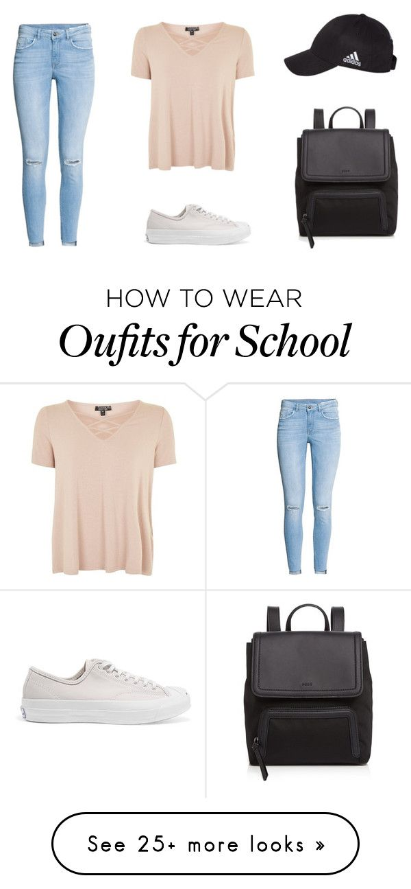 """""""School"""" by clawsdanielle on Polyvore featuring H&M, Topshop, Converse, DKNY and adidas"""