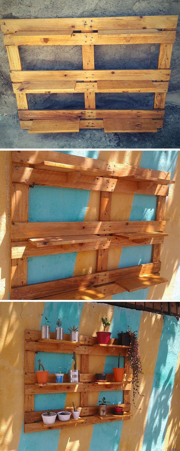 DIY #Pallet Garden Wall #Planter / Shelving Unit - 99 Pallets