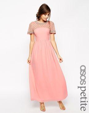 ASOS PETITE - Maxi robe motif croisillons à manches évasées