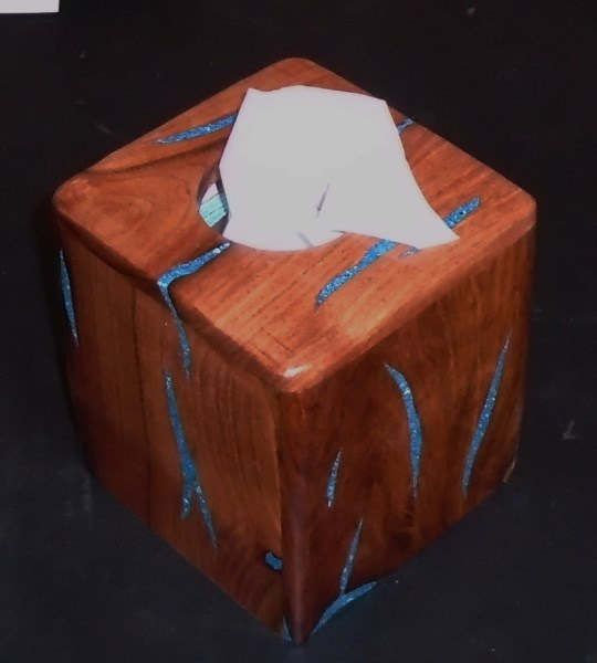 HANDMADE TISSUE BOX COVER ~TISSUE BOX HOLDER Handcrafted out of Texas Honey Mesquite Wood & inlaid with Sleeping Beauty Turquoise. Home & Living Decor. Rustic & Southwestern, but goes nicely with any decor. Approximate size is; 5-1/4 x 5-1/4 x 6. Finished with several coats of a hi-gloss polyurethane. Item #TH. Please Note; the physical size will always be the same, but each of my tissue holder boxes will have a different look, as relates to the inlay patterns.