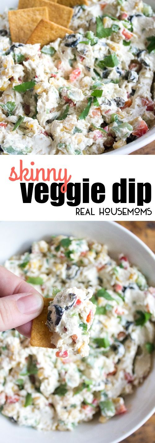 Skinny Veggie Dip is full of summer vegetables and so delicious! It's a perfect poolside snack for summer! via @realhousemoms